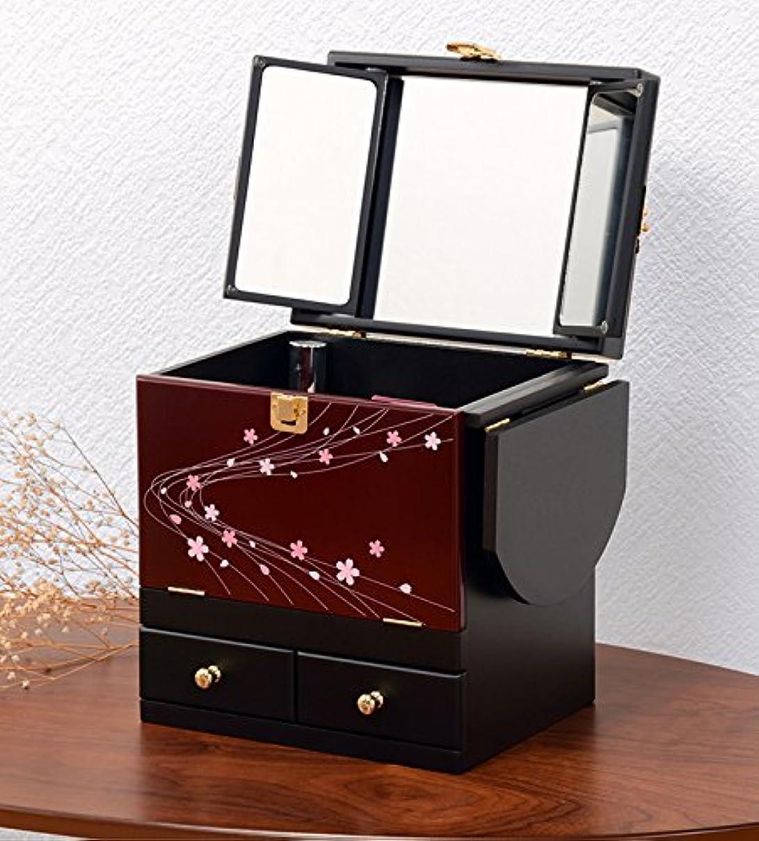 非公式墓セットアップコスメボックス 化粧ボックス ジュエリーボックス コスメ収納 収納ボックス 化粧台 3面鏡 和風 完成品 折りたたみ式 軽量 えんじ