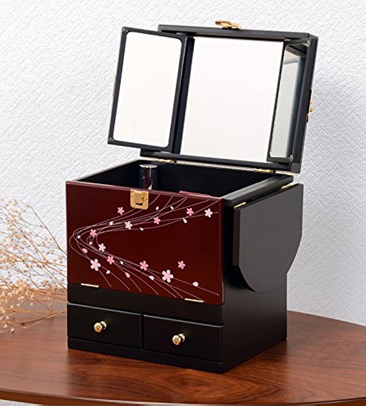 豊富弾丸地味なコスメボックス 化粧ボックス ジュエリーボックス コスメ収納 収納ボックス 化粧台 3面鏡 和風 完成品 折りたたみ式 軽量 えんじ