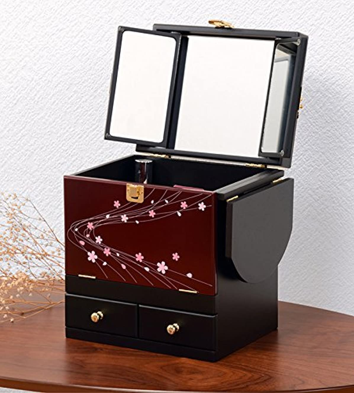 電話する反毒ペリスコープコスメボックス 化粧ボックス ジュエリーボックス コスメ収納 収納ボックス 化粧台 3面鏡 和風 完成品 折りたたみ式 軽量 えんじ