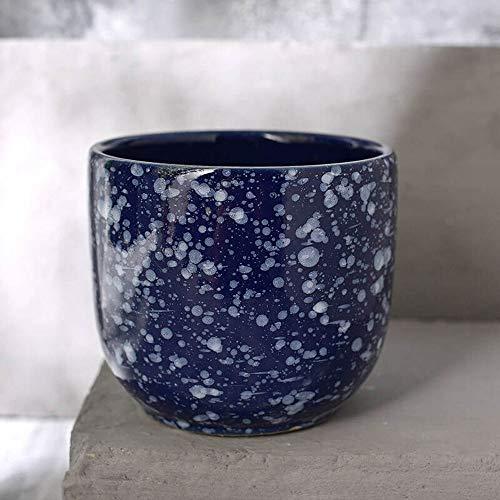 XHZJ Nouveau Pot de Fleur coupée irrégulière en céramique Chinoise Bleue, Pot de Fleur cylindrique Grand Pot de Viande de Carotte Verte, intérieur Salon décoration Pot de Fleur en céramique