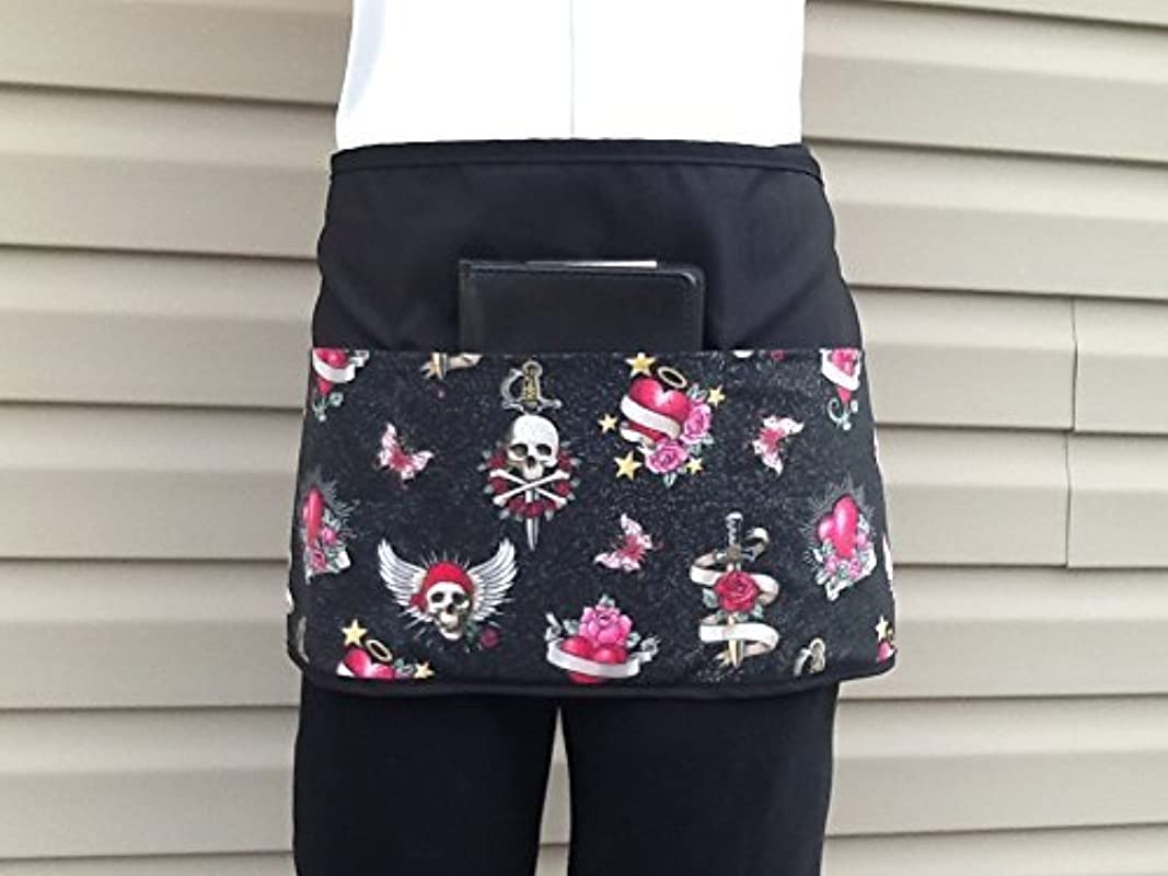 3 Pockets Waist Apron Waitress Waiter Or Server Skulls Glitter Black Half Apron Check Out 300 Designs Handmade Janet Aprons For Kitchen Cooking And Restaurants Gardening And Crafts