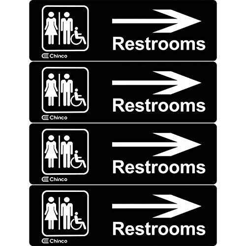 4 Pieces Acrylic Plastic Restrooms Sign Restroom Directional Sign Men Women Wheelchair Restroom Sign with Arrow for Office Restaurants Hotels Supermarket Supplies, 9 by 3 Inch (Right Arrow)