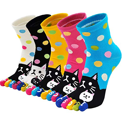 Women's Toe Sock Cute Cat Dog Ankle Sock Cotton Athletic Running Five Finger Socks for Girls (5 Pairs)