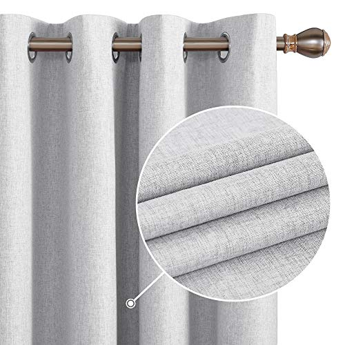 Deconovo Light Grey Blackout Window Curtains with Coating Thermal Insulated Faux Linen Curtains for Living Room Light Grey 52W x 95L Inch 2 Panels