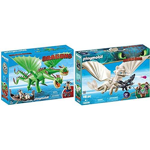 PLAYMOBIL DreamWorks Dragons Dragón 2 Cabezas con Chusco y Brusca, A Partir de 4 Años (9458) + DreamWorks Dragons Furia Diurna y Bebé Dragón con Niños, a Partir de 4 Años (70038)