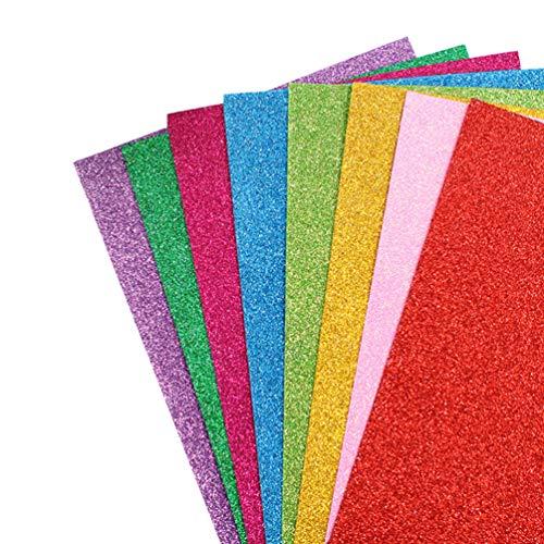 Healifty Lot de 10 feuilles de mousse EVA à paillettes colorées pour projets de bricolage, loisirs créatifs, scrapbooking, art, salle de classe, fête
