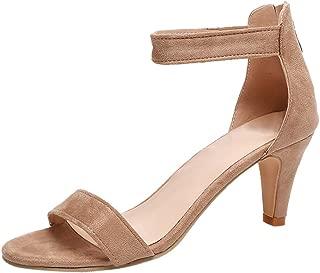 Women's Ankle Strap Back Zipper High Heels - Open Toe Wedding Party Dress Heeled Sandals Elegant Flock Bridal Shoes