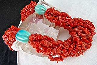 Jewel Beads Natural Beautiful jewellery Natural Red CORAL Blue TURQUOISE Beads NECKLACE 21 INCHES 6 MM TO 4MMCode:- BB-21096