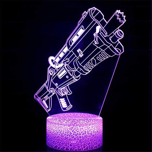 Lámpara 3D Juego Tactial Escopeta LED Luz de Noche 16 Cambio de Color Touch Lámpara de Estado de Escritorio Arte Regalos de Vacaciones para los fans del Juego (Crack Táctial Shotgun)