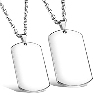 NEHZUS Couples Name Necklaces Personalized Custom Engrave Stainless Steel Tags,Keychians for Couple