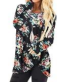 YOINS - Blusa de manga larga con estampado de leopardo, cuello redondo, cruzado, informal, holgada,...