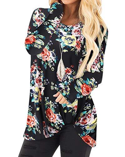 YOINS Donna Maglia Manica Lunga Camicetta Casuale Camicia con Incrociato Frontale Maglietta Asimmetrico T-Shirt Loose Fit Felpa Top Fiore-Nero S