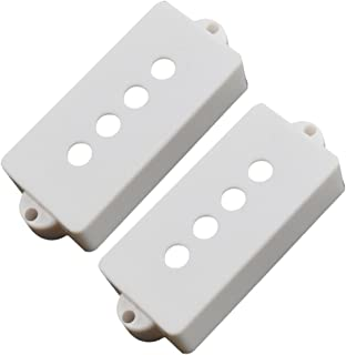 Perfk 2 Pieces Plastic Opened 4-String Bass Pickup Cover For PB Precision Bass - White, 67.8 x 27.5 x 15mm