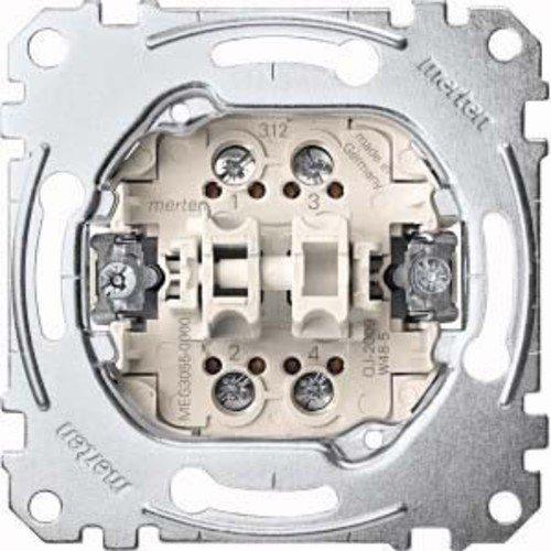 Merten MEG3055-0000 Doppeltaster-Einsatz, 2 Schließer 1-polig, 10 A, AC 250 V, Schraub-Liftklemmen