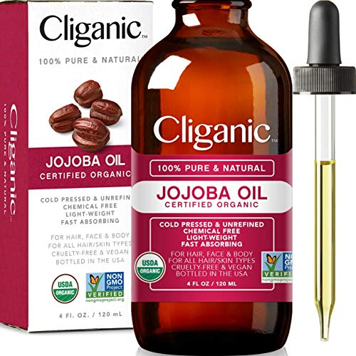 USDA Organic Jojoba Oil, 100% Pure (4oz Large) | Natural Cold Pressed Unrefined Essential Oil for Hair & Face | Carrier Oil - Certified Organic | Cliganic 90 Days Warranty