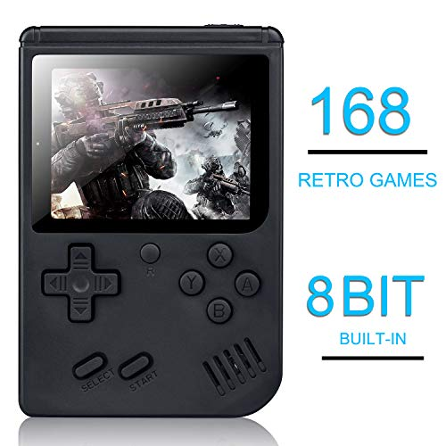 weikin Handheld Game Console, 168 Classic Games 3 Inch LCD Screen Portable Retro Video Game Console Support for Connecting TV, Good Gifts for Kids and Adult
