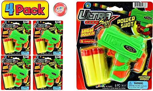 JA-RU Ultra Foam Dart Gun (4 Packs) Super Mega Powerful Shotgun Blaster Shot Handgun Party Favor Pinata Fillers. Plus 1 Ball | Item #5483-4p
