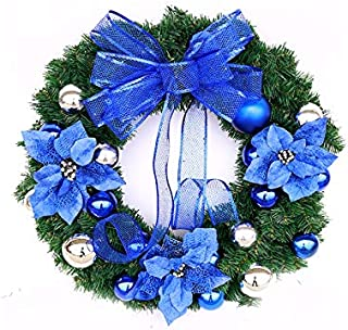Christmas Party Flower Christmas Wreath Door Hanging Ornaments Room Christmas Tree Pendants for Decoration(Blue)