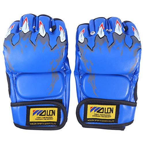 CLISPEED Luvas de Boxe Sem Dedos Respirável Meio Dedo Pu Luvas de Proteção Luvas de Luta Mma para Sanda Sparring Saco de Pancadas Treinamento (Azul)