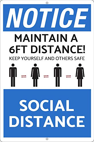 Hayloft Social Distance Sign | Social Distancing Stay 6 Feet Apart | Rust Free | Fade Resistant | Easy Mounting | Indoor/Outdoor Use | Made in USA | Covid-19/Coronavirus/Corona | Business Sign