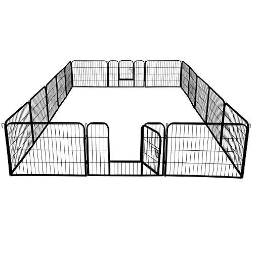 Yaheetech Recinto per Cani Animali in Ferro Conigli Cuccioli da Interno Esterno Pieghevole Giardino Recinzione Rete Metallica 16 pz 80 x 60 cm