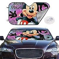 車のフロントガラスサンシェードハッピーミッキーマウス折りたたみ式フロントウィンドウシールドカバープロテクター車を涼しく保つ51x27.5インチ
