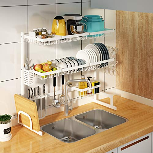 "3 Tier Adjustable Dish Drying Rack Over Sink(24""-40""), Large Dish Drainer for Kitchen Storage Counter Organization, Stainless Steel Over Sink Dish Rack Display (24≤Sink Size≤40inch, White)"