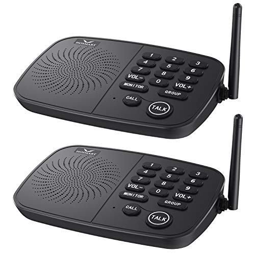 Hosmart 1 2 Mile Range 10-Channel Intercom System for Home or Office, Plug-and-Play Intercom, Easy to Use with Clear Sound, Without Yelling [2020 New Version]