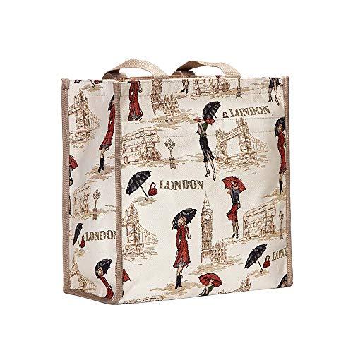 Signare Bolso tapiz Shopper de moda mujer bolso de hombro varios diseños (Señorita Londres)