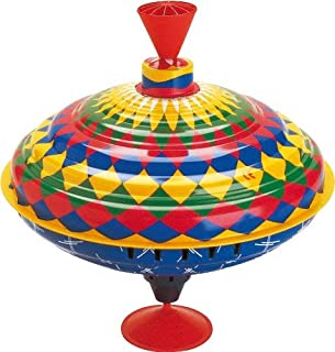 Bolz Classic Metal Spinning Tin Top Toy Multicolored