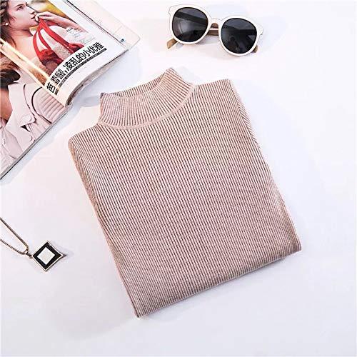 GUORUIMIN Trui Voor Vrouwen, Rijst Camel Herfst Winter Coltrui Truien Primer Shirt Lange Mouw Korte Slim-Fit Tight Zachte Comfy Sweater
