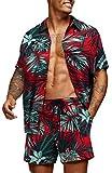 COOFANDY Men's Flower Shirt Hawaiian Sets Casual Button Down Short Sleeve Shirt (Small, PAT5)