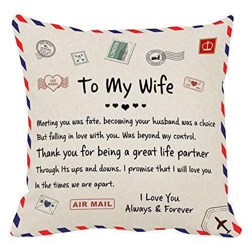 Almohada personalizada con texto personalizado tela de terciopelo avanzada única boda mascotas regalos ideales regalos personalizados para cumpleaños aniversario (a mi esposa)