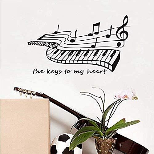 Wandtattoos & Wandbilder Mein Herz Schlüssel Klavier Wandaufkleber für Livinghome dekorative Vinyl Wandtattoo abnehmbare Pop-Art Musik Tapete 59x34cm