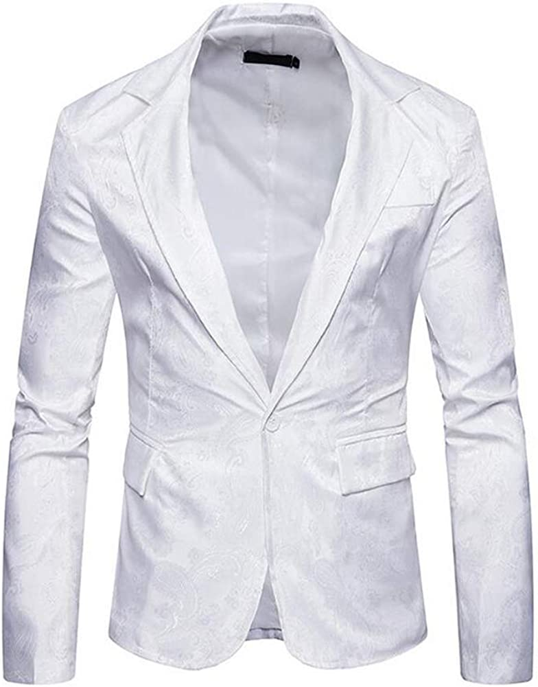 Mens Hipster Slim Fit One Button Single Breasted Paisley Stylish Suit Jacket Wedding Blazer