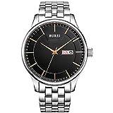BUREI, orologio da polso al quarzo, da uomo, con quadrante nero e data, cinturino in acciaio inox (Rosa)