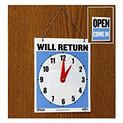 Double SidedWill Return Clock andOpen Come In Sign With Chain- 7.5 x 9