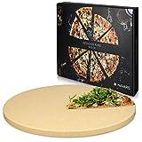 Navaris Pizzastein XXL für Backofen Grill aus Cordierit - Pizza Stein groß für Ofen Brot Backen...