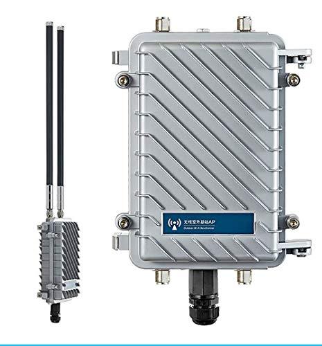 KuWFi Punto de Acceso de estación Base al Aire Libre Impermeable CPE/Ap al Aire Libre de 300Mpbs con Soporte de Antena de Panel de 18dBi Ap inalámbrico, Gateway, Repetidor WiFi, Bridge, WISP