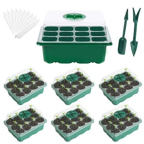 VINNAR 6 Piezas Bandeja Semillas, 12 Agujeros Mini Invernadero Bandejas de Cultivo con Agujero en Crecimiento Semilleros de Germinación con Bandeja de Plántulas de Domo de Humedad Ajustable