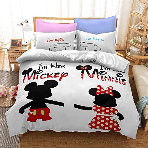 Aatensou Juego de ropa de cama con dibujos animados, Mickey Minnie, funda de edredón decorativa, diseño divertido de dibujos animados (A1, 200 x 200 cm y 80 x 80 cm)