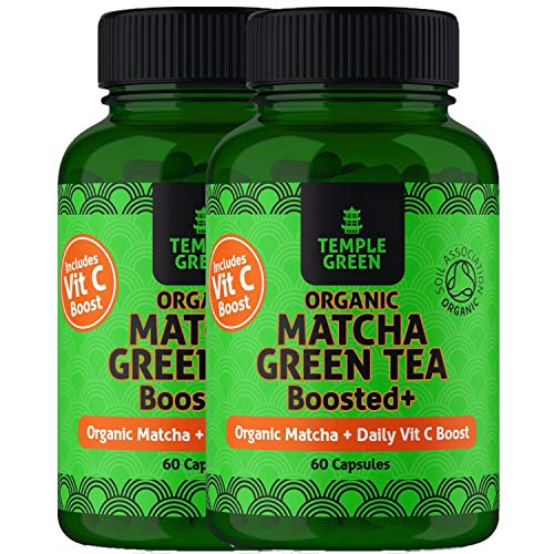 Matcha Green Tea Capsules - 2 Pack Organic Green Tea Tablets - High Strength - Boosted with Vitamin C - Organic Approved Green Tea Supplement - Proudly Made in The UK 2 Bottles
