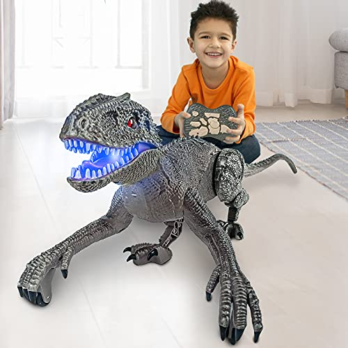 ONG NAMO Remote Control Dinosaur Toys for Kids, 5 Channels 2.4GHz RC Dinosaur Toys Realistic Dinosaur Robot Vivid Walking and Roaring T-Rex Dinosaurs with LED Light for Boys Girls