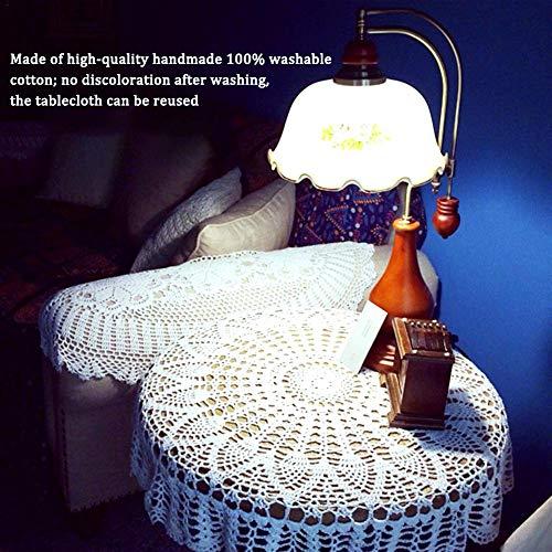 Cokeymove Runde Häkeltischdecke, Böhmen Stil Handarbeit Häkeln Tischdecke Runde Baumwollspitze Tischdecke Tischdekoration Für Zu Hause Esszimmer Hochzeit (80 cm) Best Service