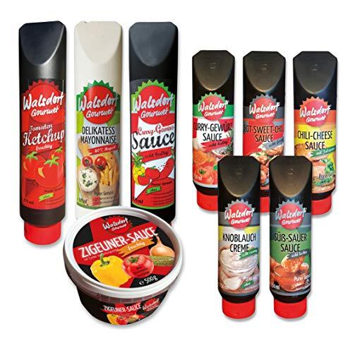 Walsdorf Gourmet Probierpaket – ideale Kombination von 9 Gourmet Saucen für das perfekte Grillerlebnis - 9er Set