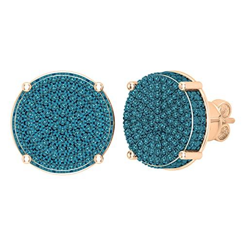 Dazzlingrock Collection Pendientes redondos de 0,50 quilates (quilates) con diseño de círculo de diamante azul pavimentado a presión para mujer de 1/2 quilates, oro rosa de 18 quilates
