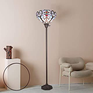 BONLICHT Tiffany Style Torchiere Floor Lamp Antique Victorian Design1-Light Stained Glass Arched Floor Standing Lighting Tall 71-Inch, 14-Inch Wide,Classic Torchiere Light Tiffany Uplight Floor Lamp