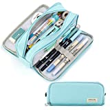 CICIMELON Pencil Case Large Capacity Pencil Pouch 3 Compartments Pencil Bag Gift for Students Girls Adults Women(Light Blue)