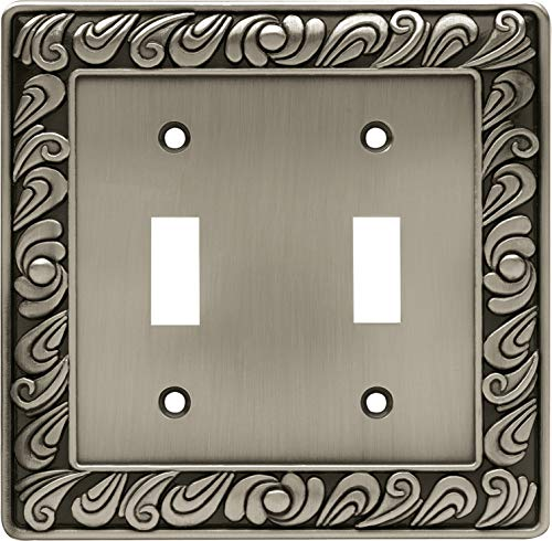 Franklin Brass 64039 Paisley Double Toggle Switch Wall Plate/Switch Plate/Cover, Brushed Satin Pewter