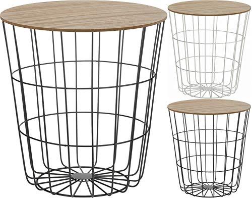 Fair-Shopping Tisch Beistelltisch Couchtisch Sofatisch Ablagetisch Holztisch mit Metallkorb H160/H170 Variation (Schwarz)